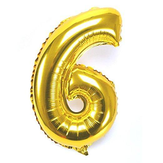 Number 6 Foil Birthday Balloon - Gold