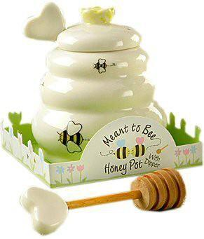 "Party Favors - ""Meant To Bee"" Ceramic Honey Pot With Wooden Dipper 25ct"