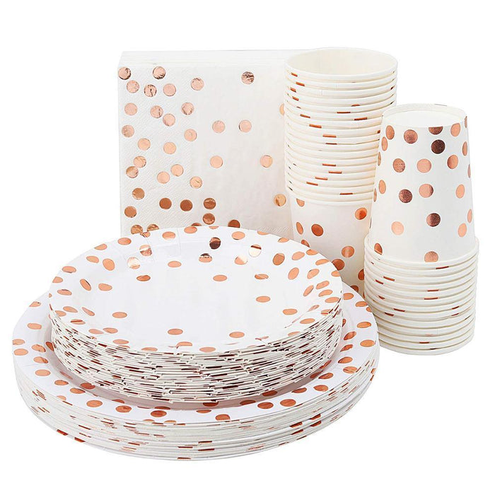 Rose Gold Polka Dot Tableware Set