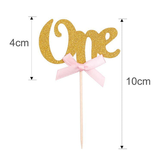Table Decorations - First Birthday Cupcake Toppers 24ct