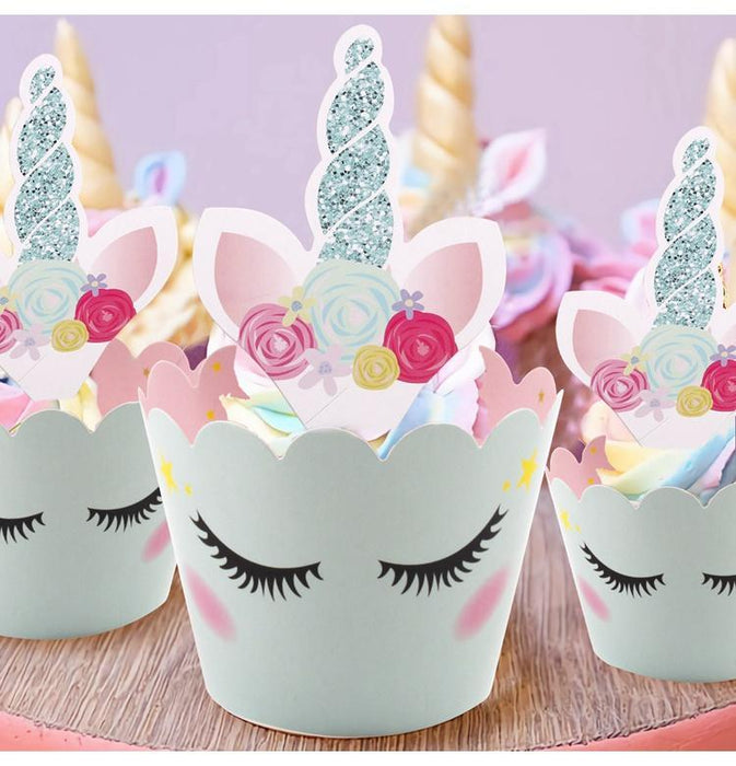 Table Decorations - Pink And Blue Unicorn Party Cupcake Decorating Set 24ct