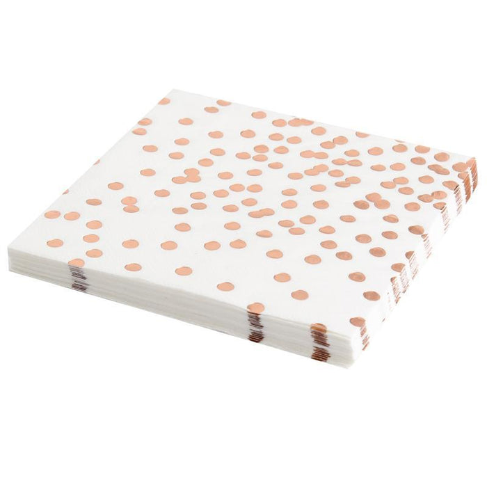 Tableware - Rose Gold Polka Dot Disposable Paper Towels 12ct