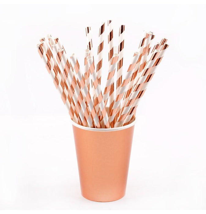 Tableware - Rose Gold Striped Straws 12ct
