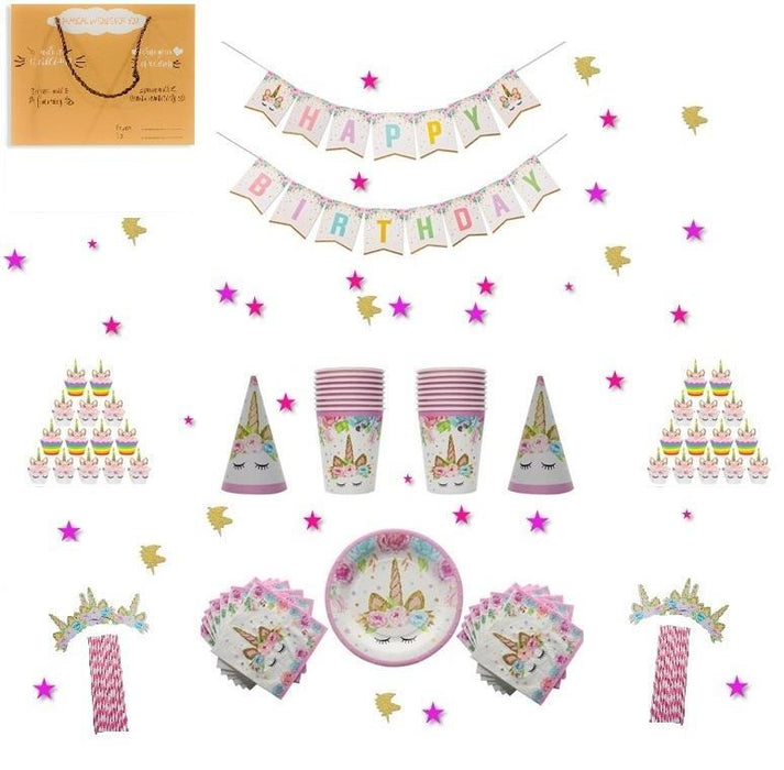 Tableware - Unicorn Party Deluxe Tableware And Cupcake Decorating Set - 12 Guests
