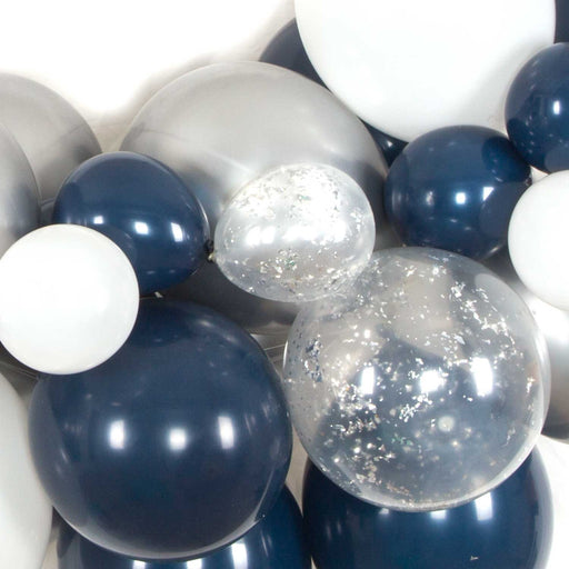 Navy Blue and Silver Balloon Arch and Garland Kit (5, 10, 16 foot)