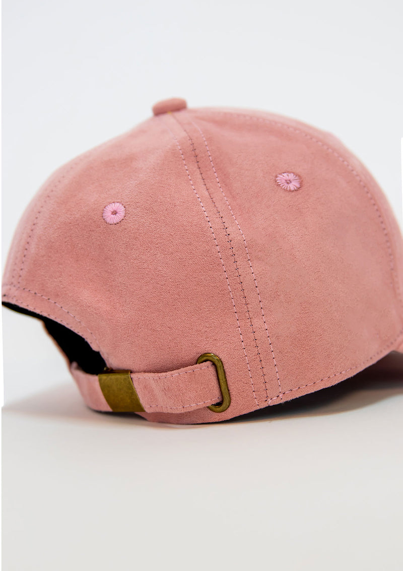 Bawah Caps - Embroidered Suede - Coral - Caps - Fashion