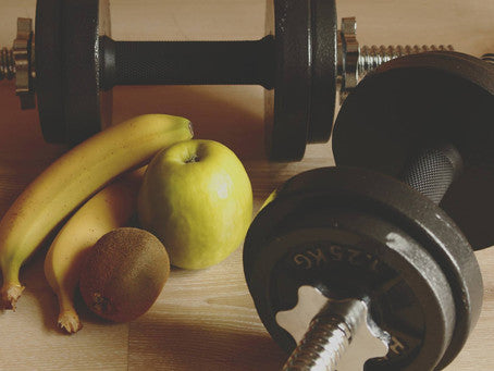 dumbell weights with fruit