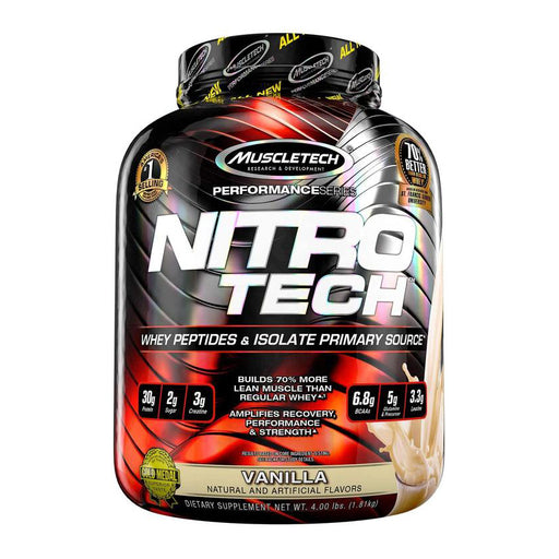 MuscleTech Nitro-Tech Whey Gold Protein Powder, Whey Isolate and Peptides - Supplement Dealz