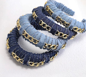 Blue jean headband w/chain