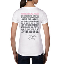 Load image into Gallery viewer, What Love Is All About White V-Neck Back 1