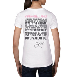What Love Is All About White V-Neck Back 1