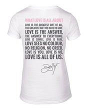 Load image into Gallery viewer, What Love Is All About White V-Neck Back 2