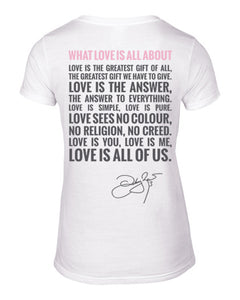 What Love Is All About White V-Neck Back 2