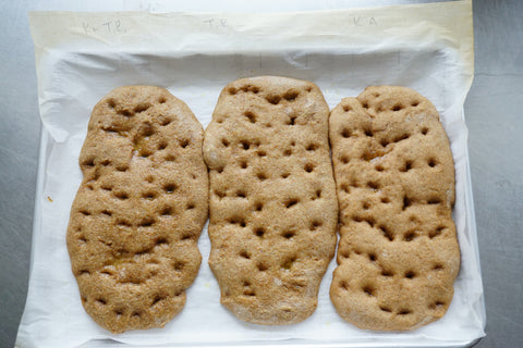 Kernza focaccia with different percentages of wheat flour