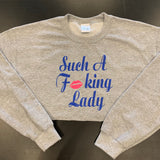 Such A Fucking Lady Crop - Royal Blue/Pink Lip