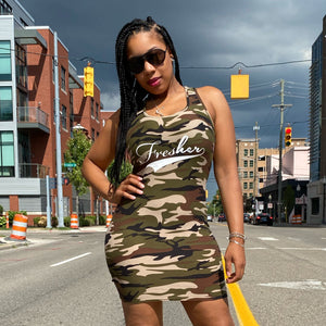 Fresher Bawdy Dress - Olive Camo