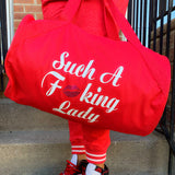 Such A Fucking Lady Getaway Duffle - Red Glitter Lip