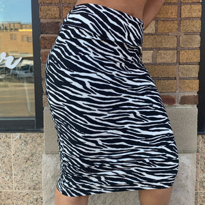 Zebra Ruched Pencil Skirt