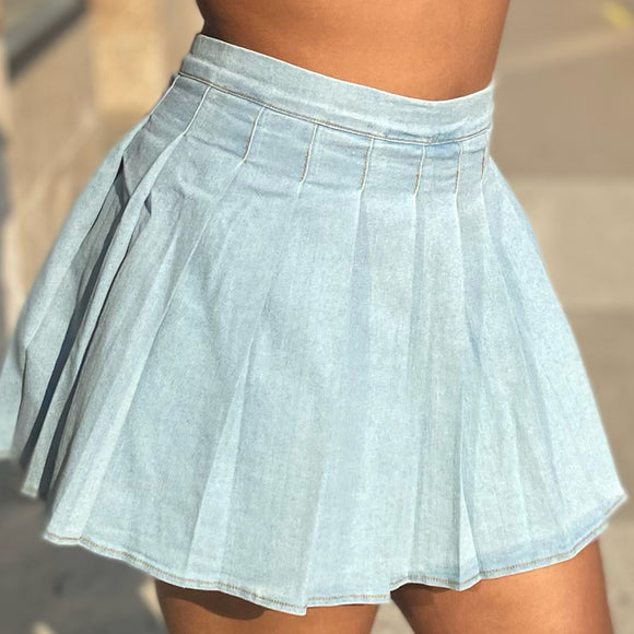 Take Notes Blue Denim Skirt