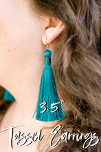 "Load image into Gallery viewer, THE ALEX 3.5"" CHAMPAGNE silky tassel earrings"