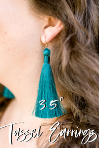 "THE ALEX 3.5"" CHAMPAGNE silky tassel earrings"