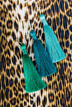 "Load image into Gallery viewer, THE SAMARA 3.5"" TURQUOISE silky tassel earrings"