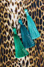 "Load image into Gallery viewer, THE DANI 3.5"" PEACOCK silky tassel earrings"