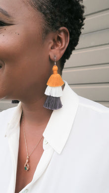THE LINDLEY - ORANGE & WHITE & GREY 3-TIER tassel earrings