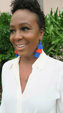 THE CARLY RENEE - ORANGE & BLUE 3-TIER tassel earrings