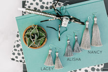 "Load image into Gallery viewer, THE ALISHA 2"" BLACK/SILVER silky tassel earrings"