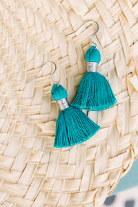 "THE TATIANA 1-1/4"" TURQUOISE silver tassel earrings"