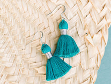"Load image into Gallery viewer, THE TATIANA 1-1/4"" TURQUOISE silver tassel earrings"