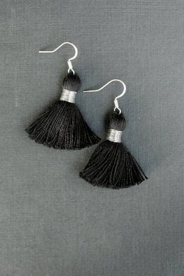 "THE ANNIE 1-1/4"" SILVER black tassel earrings"