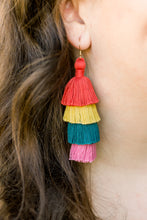 "Load image into Gallery viewer, THE CHRISTINA 3"" RED, GOLD, TURQUOISE AND PINK 4-tier tassel earrings"