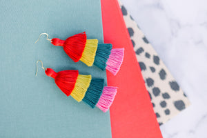 "THE CHRISTINA 3"" RED, GOLD, TURQUOISE AND PINK 4-tier tassel earrings"