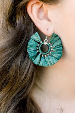 THE CONNER DARK GREEN raffia circle fan tassel earrings