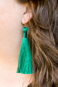 "THE DANI 3.5"" PEACOCK silky tassel earrings"