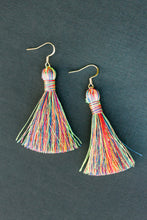 "Load image into Gallery viewer, THE DAWN 2"" NEON RAINBOW silky tassel earrings"