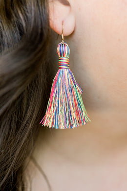 "THE DAWN 2"" NEON RAINBOW silky tassel earrings"