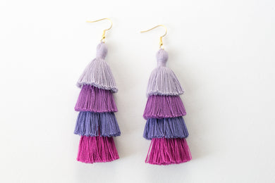 "THE JENNA 3"" purple shade 4-TIER tassel earrings. Cystic Fibrosis Awareness. Cystic Fibrosis Foundation"