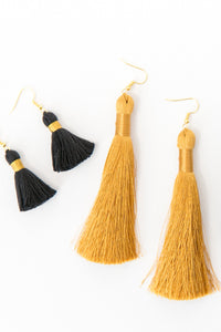 "THE ANNIE 1-1/4"" black tassel earrings"