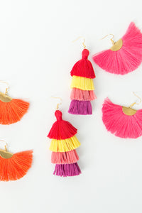 "THE AMBER 3"" red, yellow, pink and purple tassel earrings"
