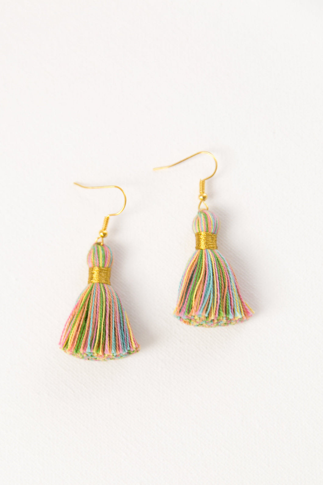 "THE LYNN 1-1/4"" pastel multi-color tassel earrings"