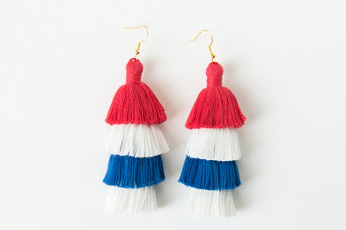 "THE FIRST LADY 3"" red, white & blue America 4th of July tassel earrings #tasseleverything"