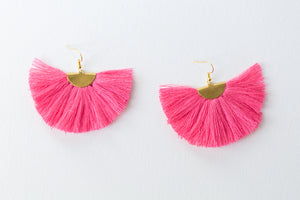THE MEREDITH fan PINK tassel earrings
