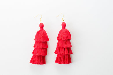 "THE CHARLOTTE 3"" red tassel earrings"
