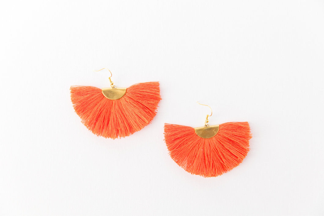 THE ASHLEY orange fan tassel earrings