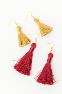 "THE BERNICE 2"" berry deep red silky tassel earrings"