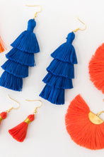 "Load image into Gallery viewer, THE CATIE 3"" blue tassel earrings"