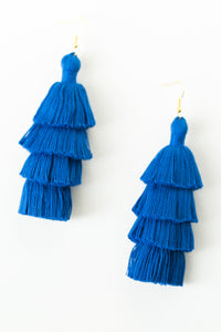 "THE CATIE 3"" blue tassel earrings"